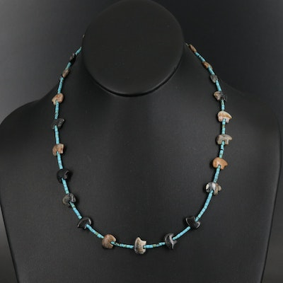 Sterling Picasso Marble, Serpentine and Gemstone Beaded Station Necklace