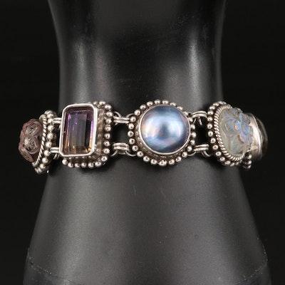 Stephen Dweck Sterling Silver Bezel Set Multi-Gemstone Bracelet