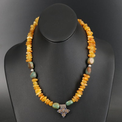 Sterling Amber, Turquoise and Enamel Beaded Necklace