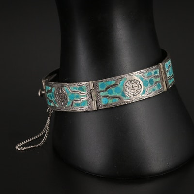 Turquoise Inlay Sunface Panel Bracelet