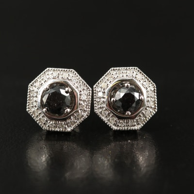 Sterling Silver 1.00 CTW Diamond Stud Earrings with Jackets