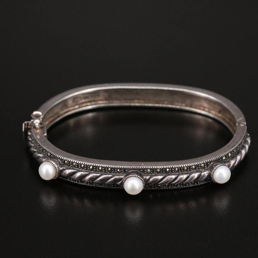 Judith Jack Sterling Pearl and Marcasite Hinged Bangle