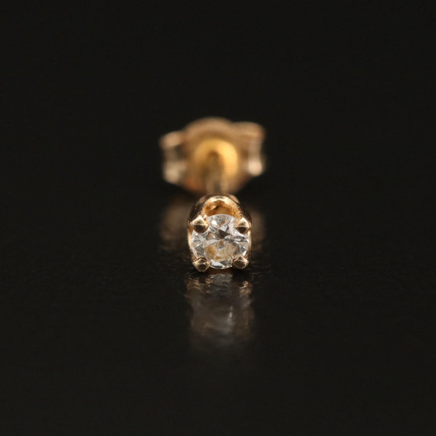 14K 0.04 CT Diamond Solitaire Stud Earring