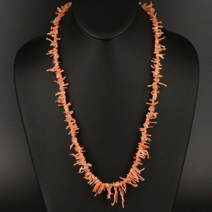 Branch Coral Fringe Necklace with 14K Clasp