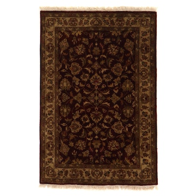 4' x 6'2 Hand-Knotted Indo-Persian Tabriz Floral Area Rug