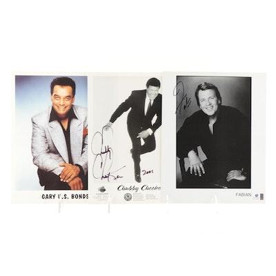 Chubby Checker, Fabian, Gary U.S. Bonds Signed Photo Prints, COAs