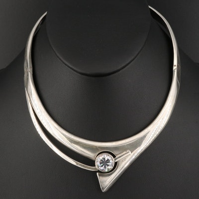 Mexican Alicia Plata 950 Silver Collar Necklace with Cubic Zirconia Accent
