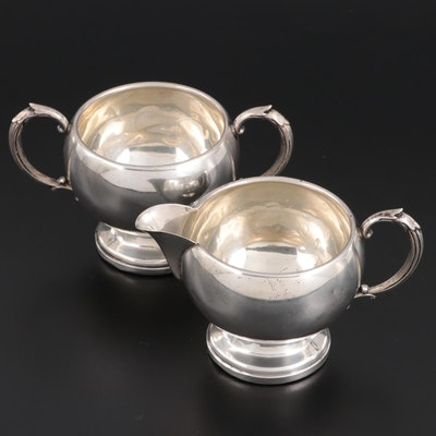 M. Fred Hirsch Sterling Silver Creamer and Sugar, Early to Mid 20th Century