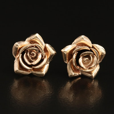 14K Rose Stud Earrings