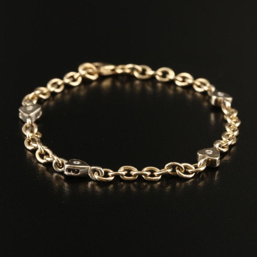 14K Diamond Heart Station Bracelet
