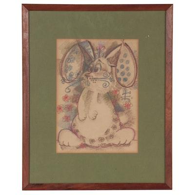 Pastel Illustration of Rabbit, Late 20th Century
