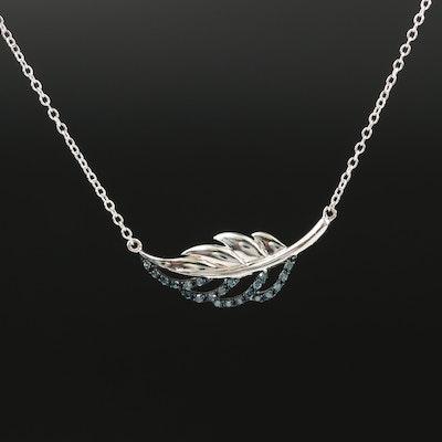 Sterling Silver Blue Diamond Necklace
