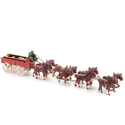 Cast Iron Clydesdale Horse Drawn Beer Wagon with Barrels