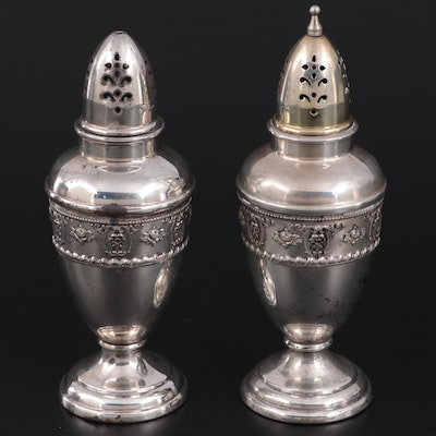 """Wallace """"Rose Point"""" Sterling Silver Salt and Pepper Shakers, Mid to Late 20th C"""