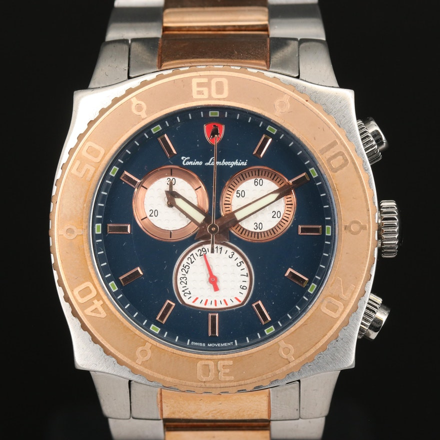 Two Tone Tonino Lamborghini Quartz Chronograph Stainless Steel Wristwatch