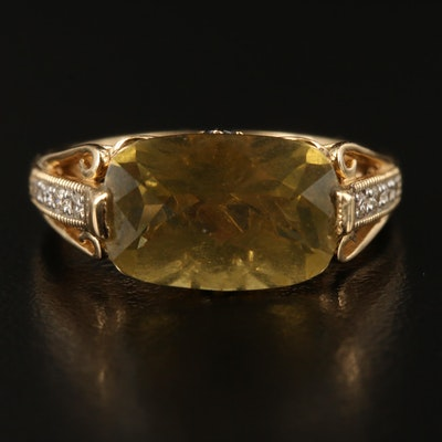 14K Citrine, Diamond and Tourmaline Ring