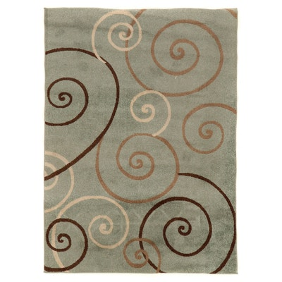 """4'11 x 6'10 Machine Made Cambridge Collection """"Scroll"""" Area Rug, 2010s"""