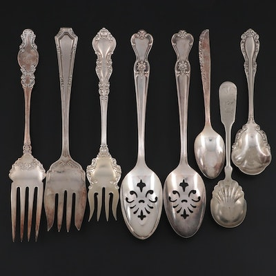 """International """"Warwick"""" Sterling Silver Fork with Other Silver Plate Flatware"""