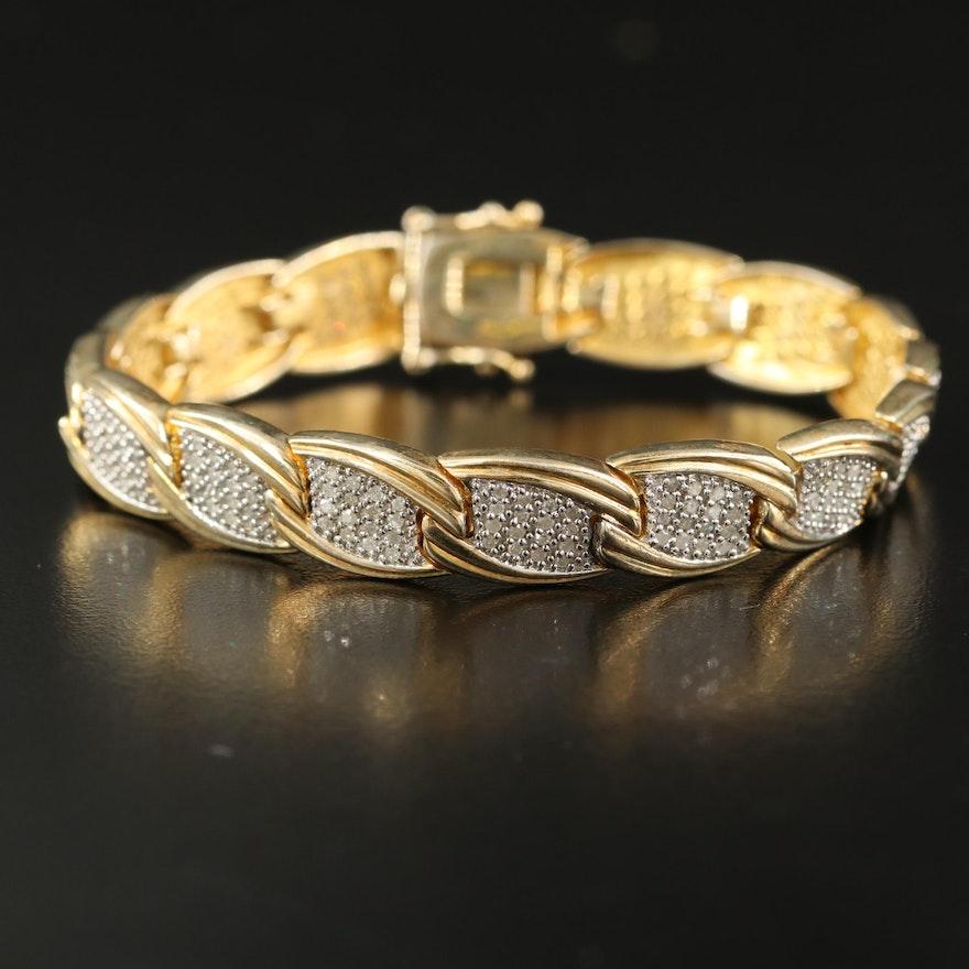 Sterling Silver 1.50 CTW Diamond Link Bracelet