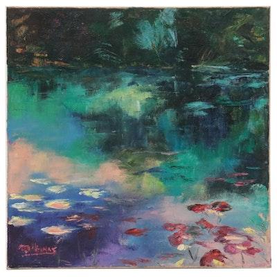 """James Baldoumas Landscape Oil Painting """"Pond View,"""" 2021"""