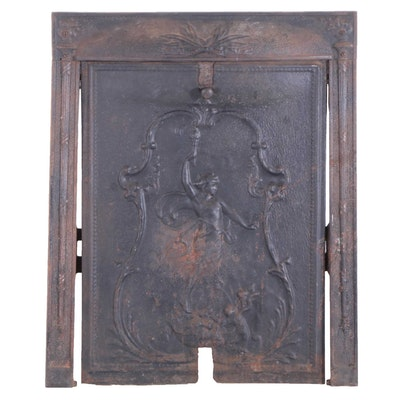Art Nouveau Embossed Metal Fireplace Cover, Late 19th/Early 20th Century