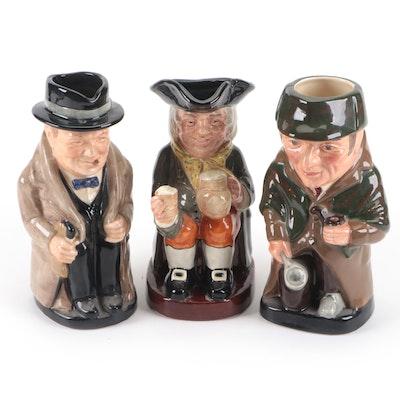 """Royal Doulton """"Sherlock Holmes,"""" """"Winston Churchill,"""" and """"Happy John"""" Toby Jugs"""