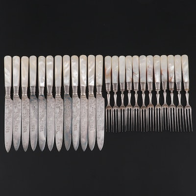 James Deakin & Sons Sterling Silver and Mother-of-Pearl Knives and Seafood Forks
