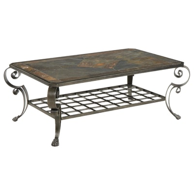 Scrolled Metal and Simulated Stone Two-Tier Coffee Table