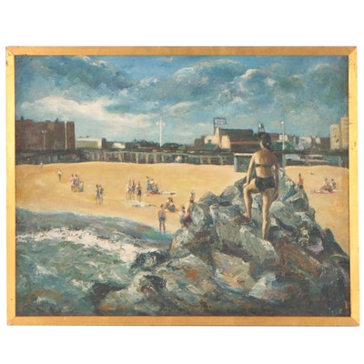 Nathan Hoffman Beach Scene Oil Painting, 1947