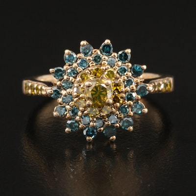 Sterling 1.00 CTW Diamond Floral Ring