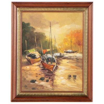 Harbor Scene Oil Painting, 1970