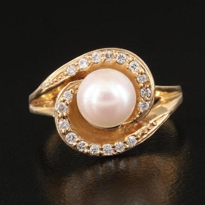 14K Pearl and Diamond Swirl Setting Ring