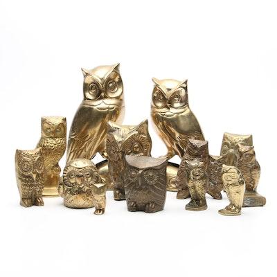 Brass Owl Figurines