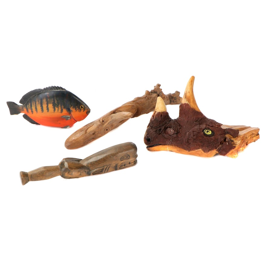Signed Hand-Carved Wooden Rhino, Fish, Face, and Whale Figurines