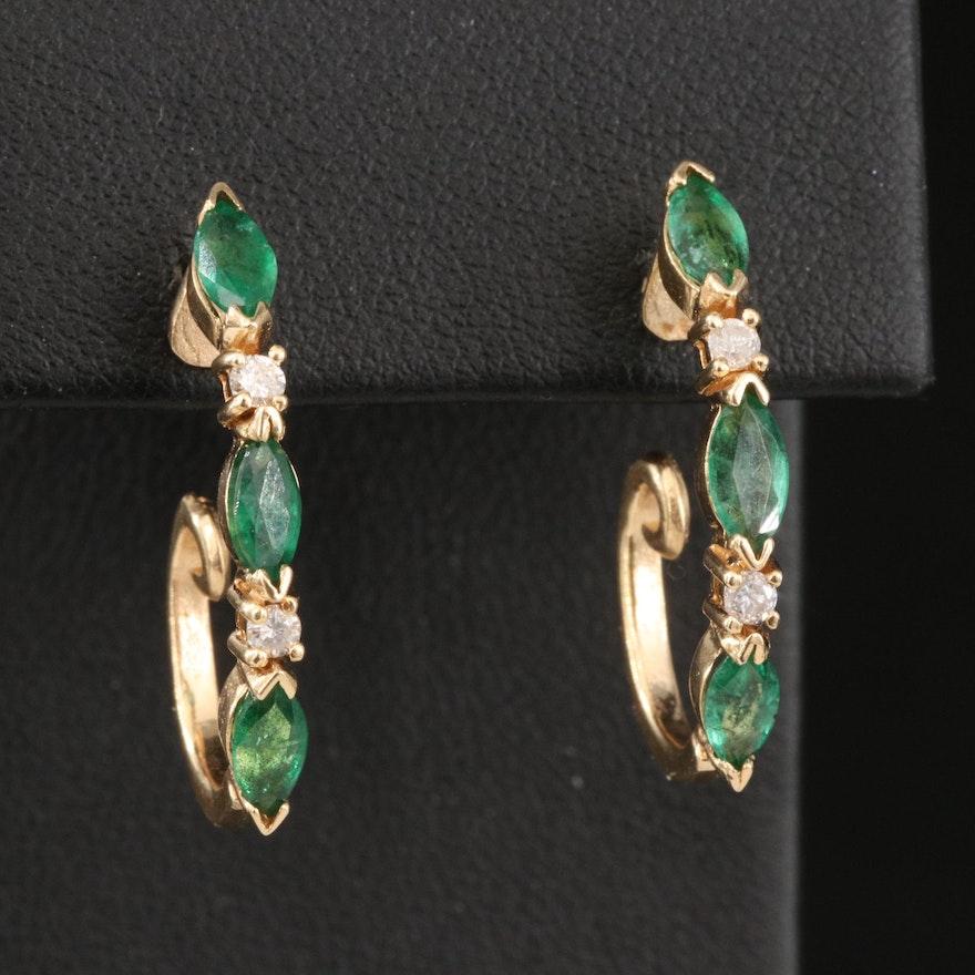 14K Emerald and Diamond J Hoop Earrings