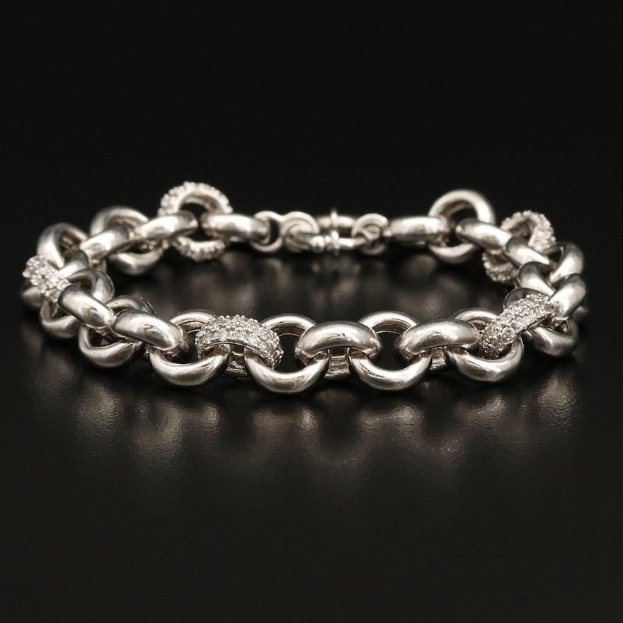 Sterling Cubic Zirconia Chain Link Bracelet