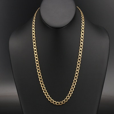 Italian 10K Filk Spa Curb Chain Necklace