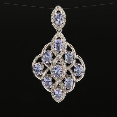 Sterling Tanzanite and Diamond Lattice Pendant