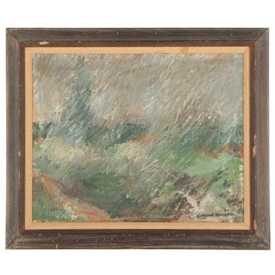 "Leonard Maurer Oil Painting ""Rain,"" 1960"