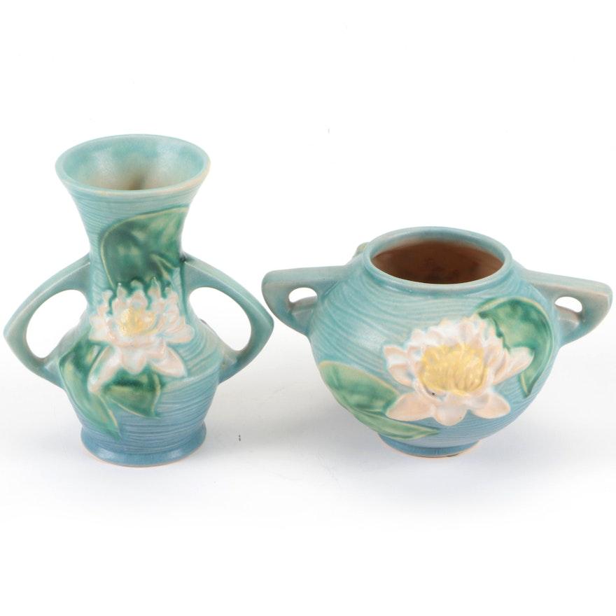 "Roseville Pottery ""Water Lily"" Ceramic Vases"
