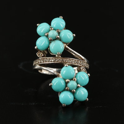 Sterling Turquoise and White Spinel Floral Bypass Ring