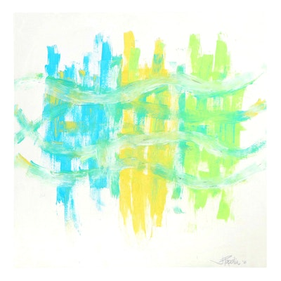 """J. Popolin Abstract Acrylic Painting """"We're All Connected"""""""