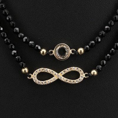 Endless White Topaz and Black Onyx Station Infinity Symbol Necklace