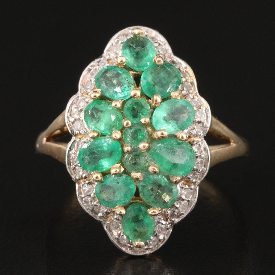 14K Emerald and Diamond Multi-Foil Navette Ring