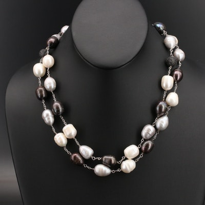 Sterling Pearl and Black Spinel Beaded Necklace