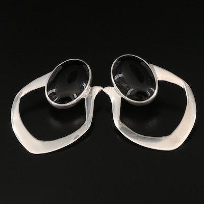 Inger K Sterling Black Onyx Earrings