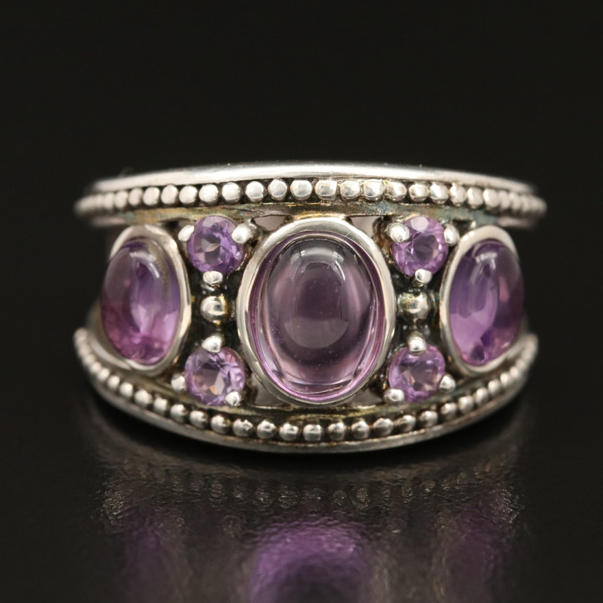 Sterling Silver Amethyst Ring with Granulation Detail