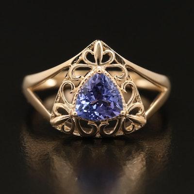 14K Tanzanite Ring with Fleur-de-Lis Detail