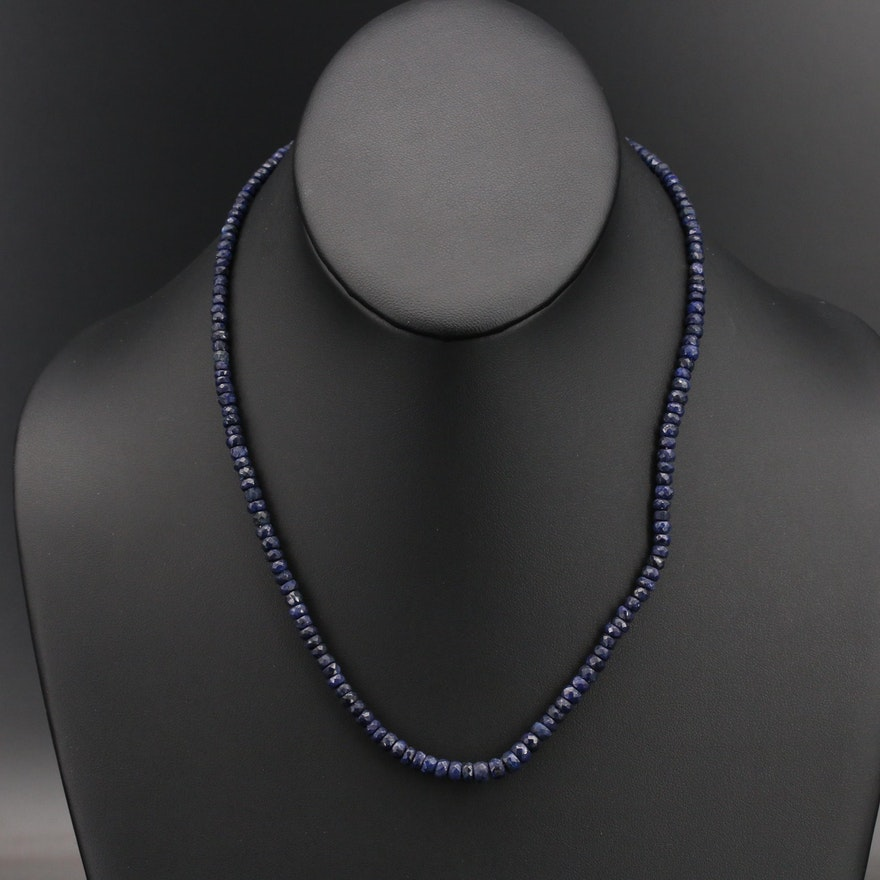 Corundum Beaded Necklace with Sterling Clasp