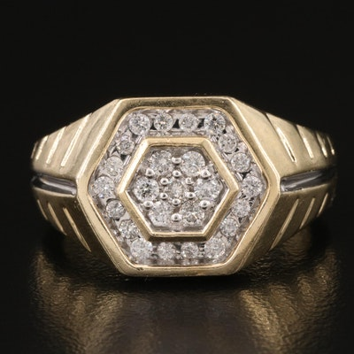 14K Diamond Hexagonal Ring